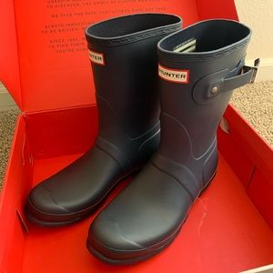 Hunter Women original Short Rainboots navy blue 10